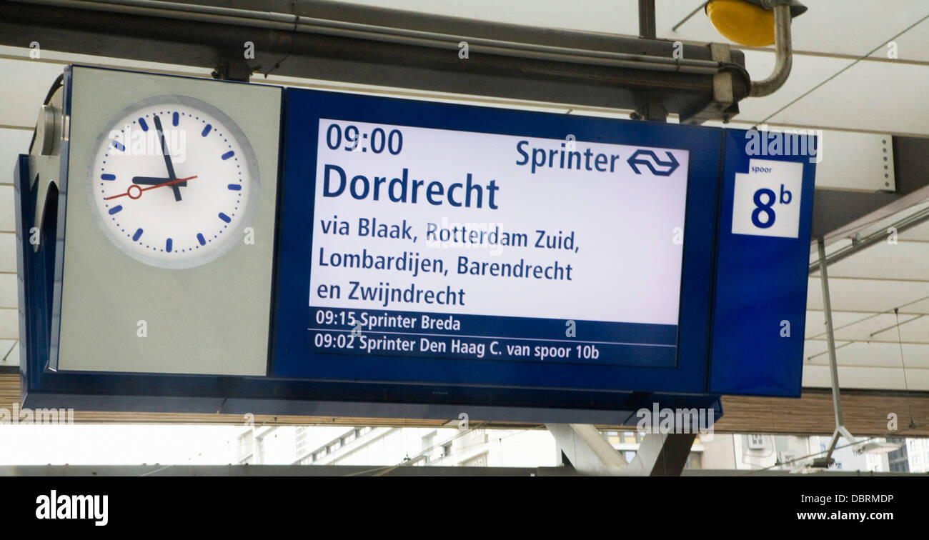 Railway station platform notice for train to Dordrecht, Netherlands - Stock Image