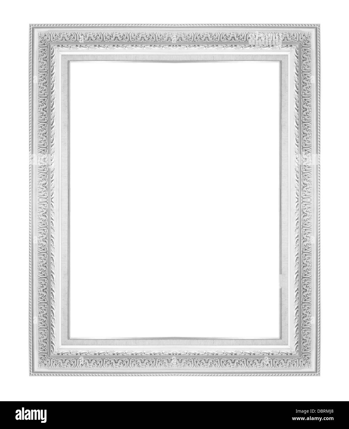 Antique Wood Frame Isolated On White Background - Stock Image