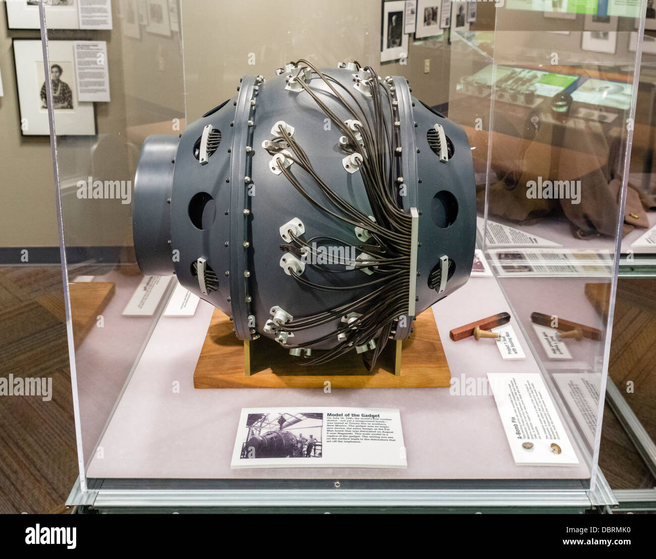 Scale model of 'The Gadget', first nuclear device tested at Trinity Site in 1945, Bradbury Science Museum, - Stock Image