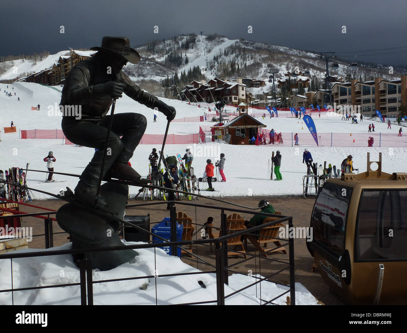 Buddy Werner statue at the base of Steamboat Springs Ski resort, USA - Stock Image