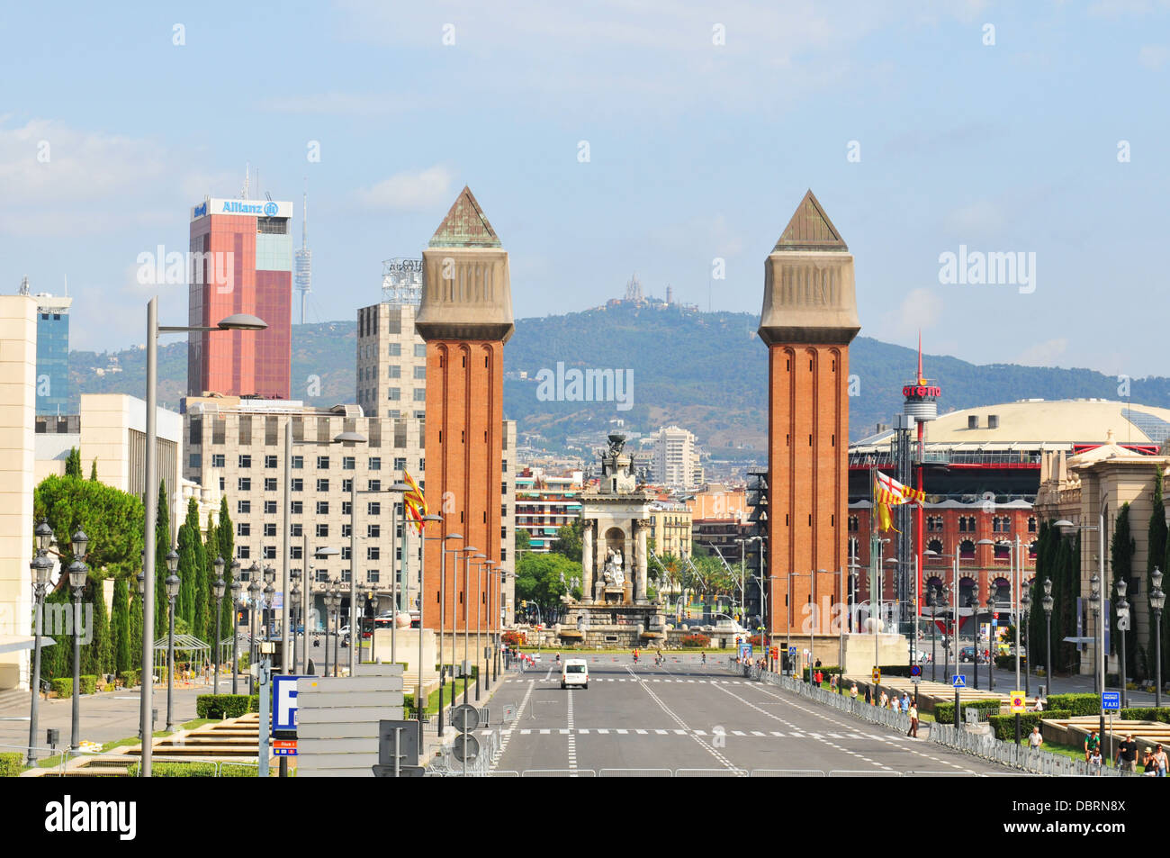 View of the famous Placa d'Espanya, one of Barcelona's most important squares. - Stock Image
