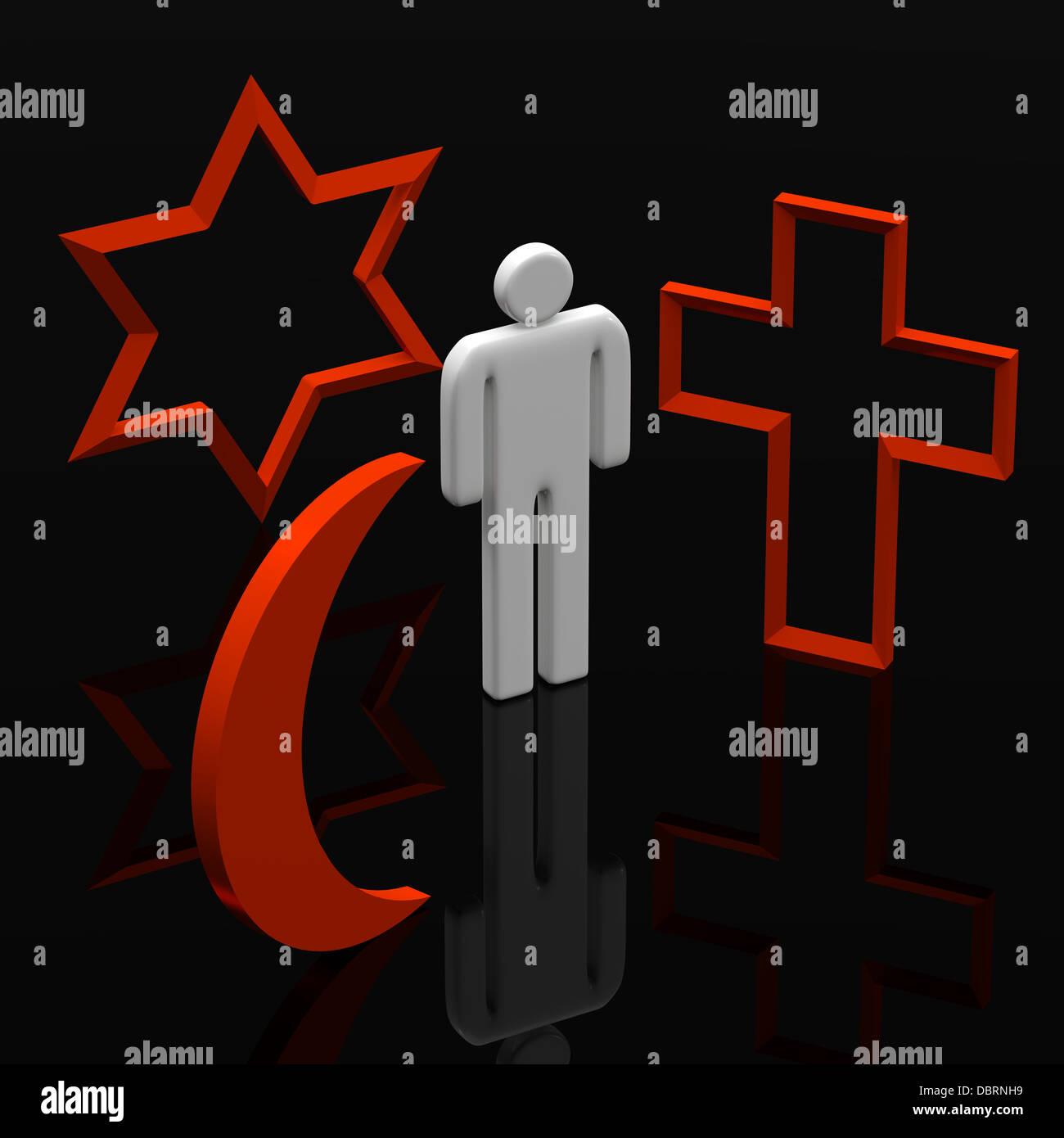 Three Dimensional Shape The Main Religious Symbols Stock Photo
