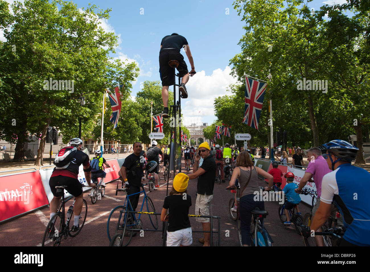 London, UK. 03rd Aug, 2013. Participants in the Freecycle event for everyone with a tall bicycle on The Mall Credit: - Stock Image