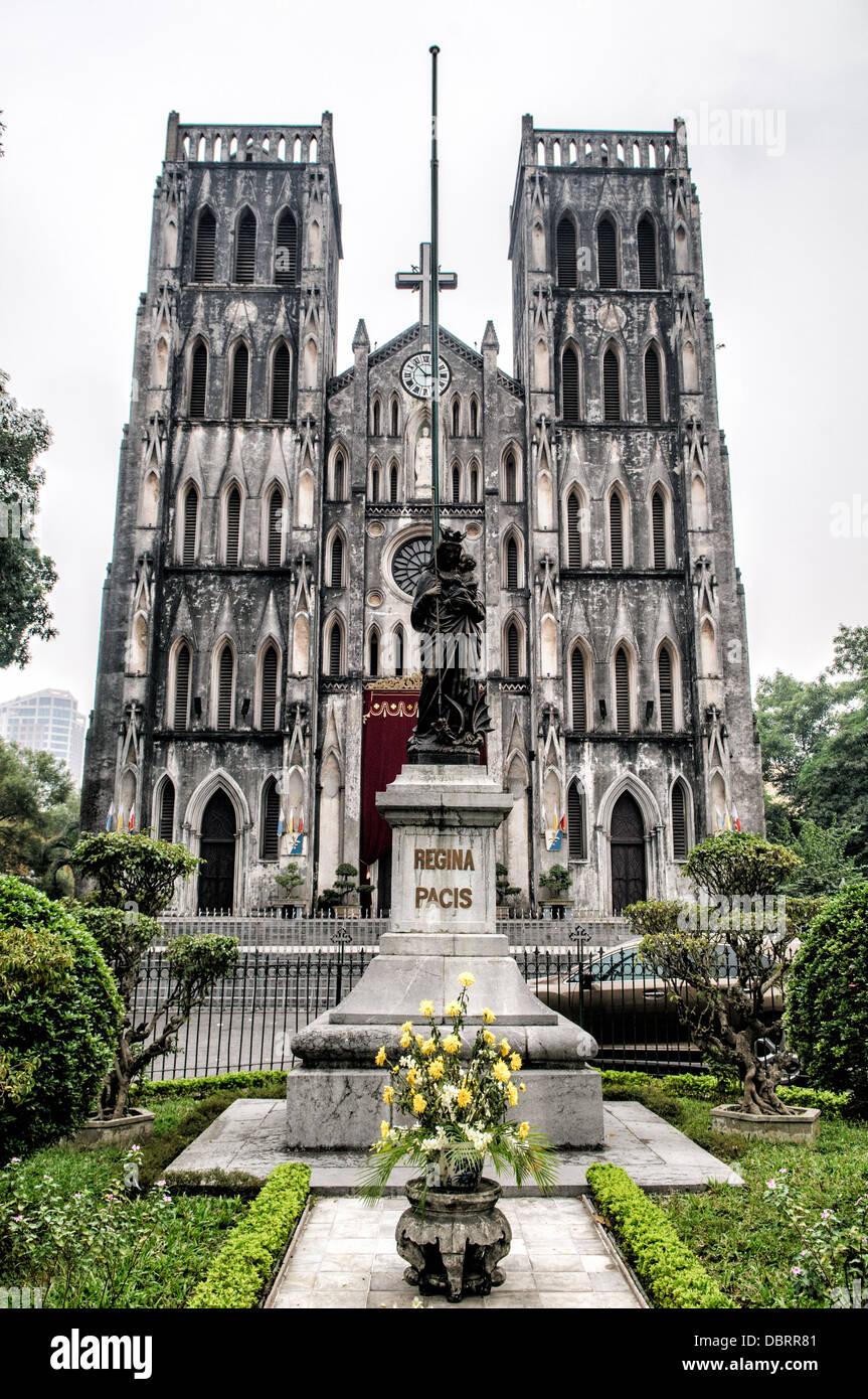 HANOI, Vietnam - St. Joseph's Cathedral is a church on Nha Tho (Church) Street in the Hoan Kiem District of Hanoi, Stock Photo