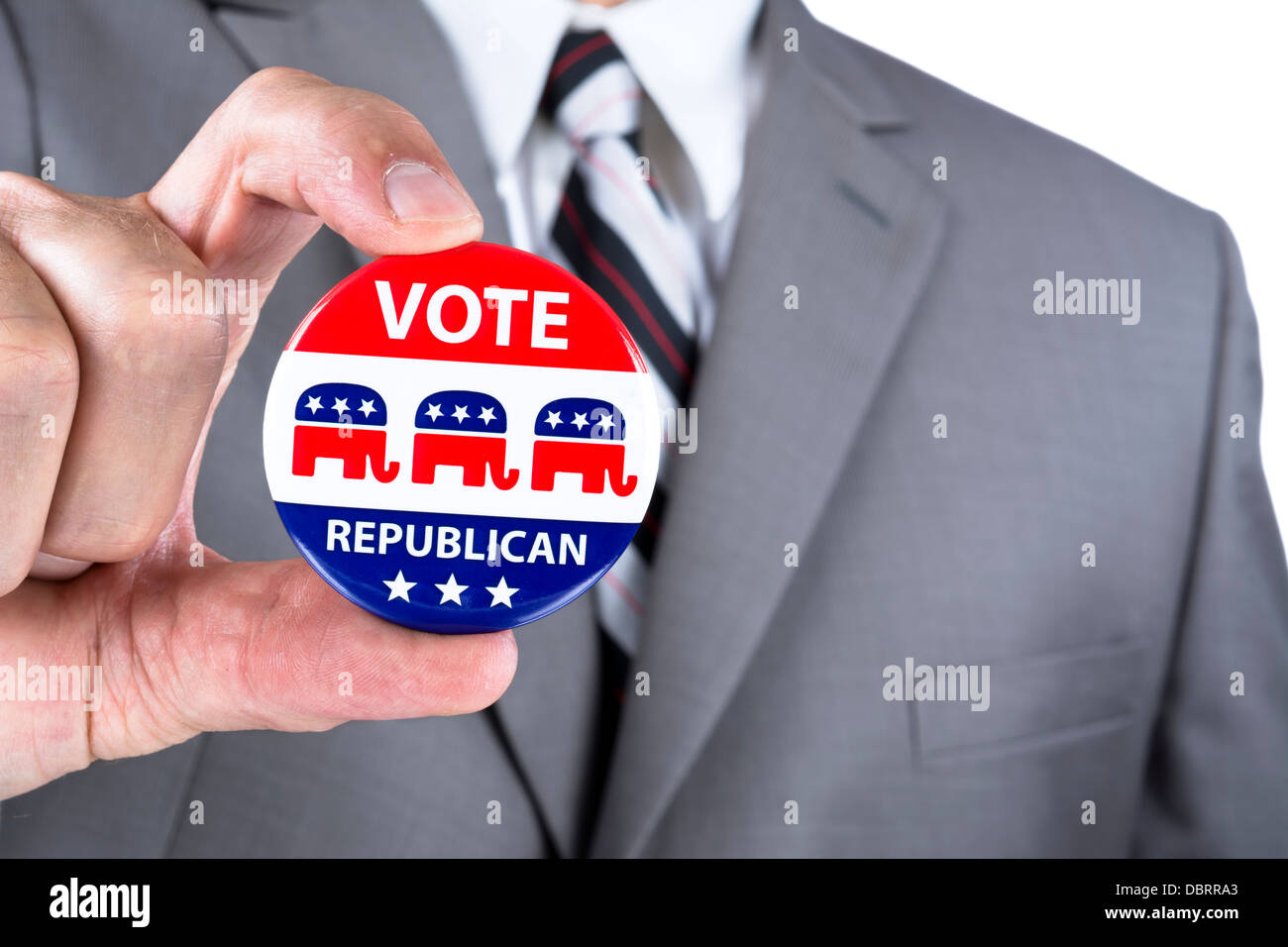 A campaigning politician showing his republican political badge during election season in the USA - Stock Image