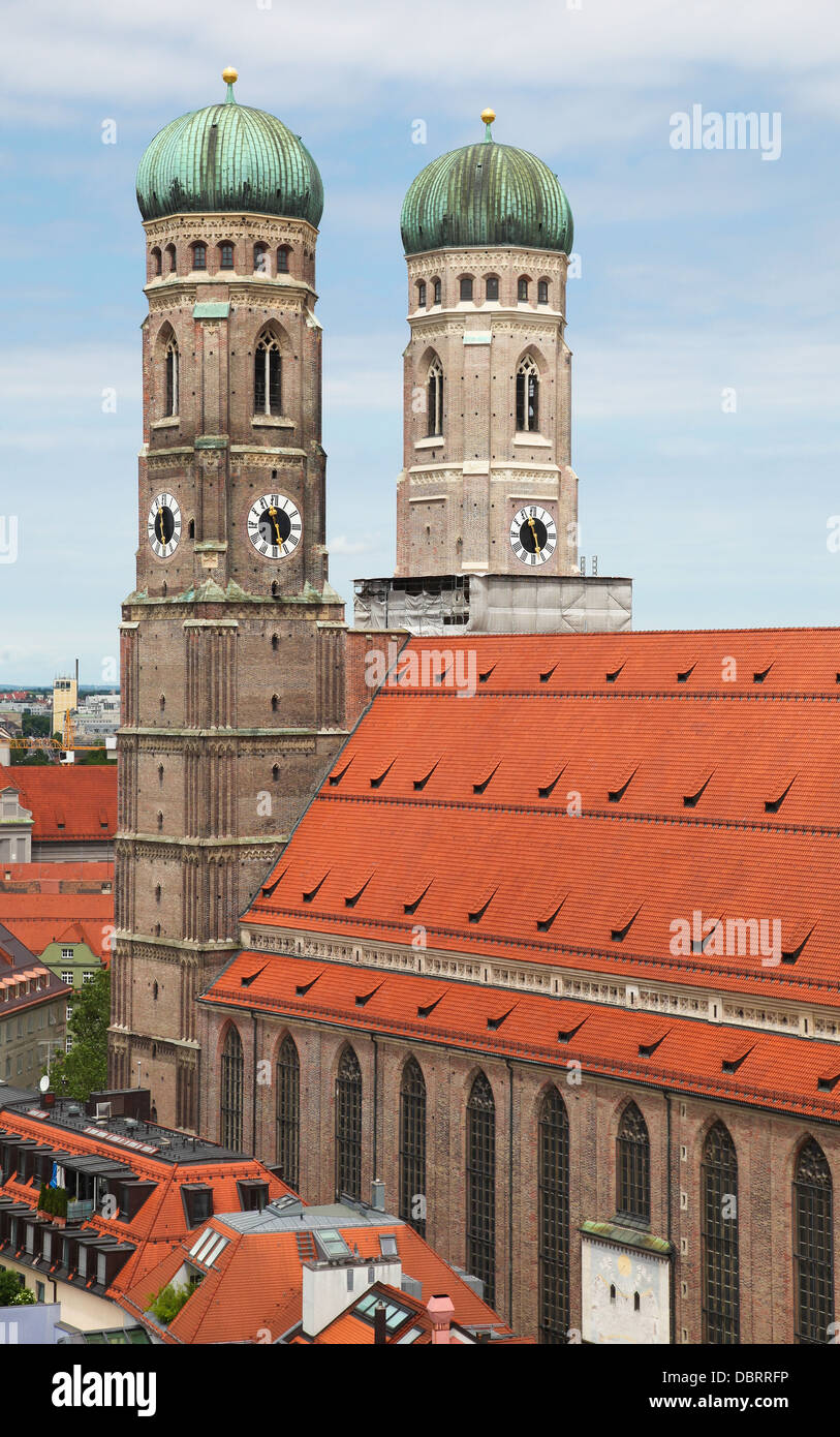 Famous Cathedral of Saint Mary - Liebfrauenkirche in Munchen, capital of Bavaria, Germany. - Stock Image