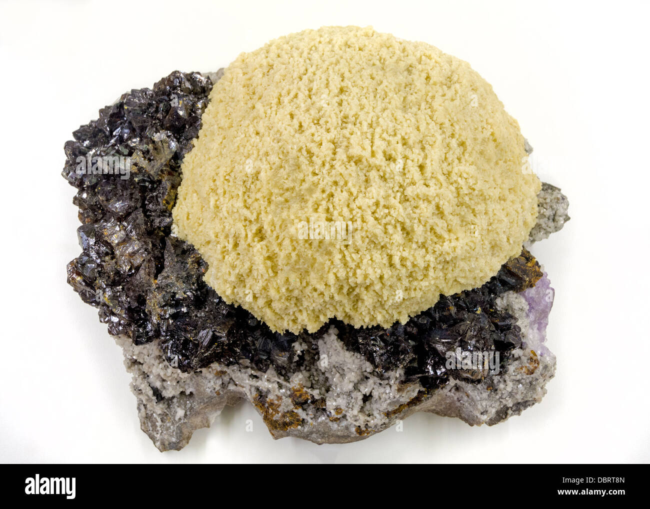 Beautiful mineral with crystals on display - Stock Image