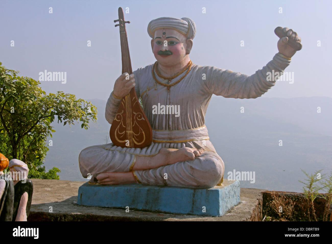 Idol of Saint Tukaram great poet of Marathi in temple at Pune, Maharashtra, India - Stock Image