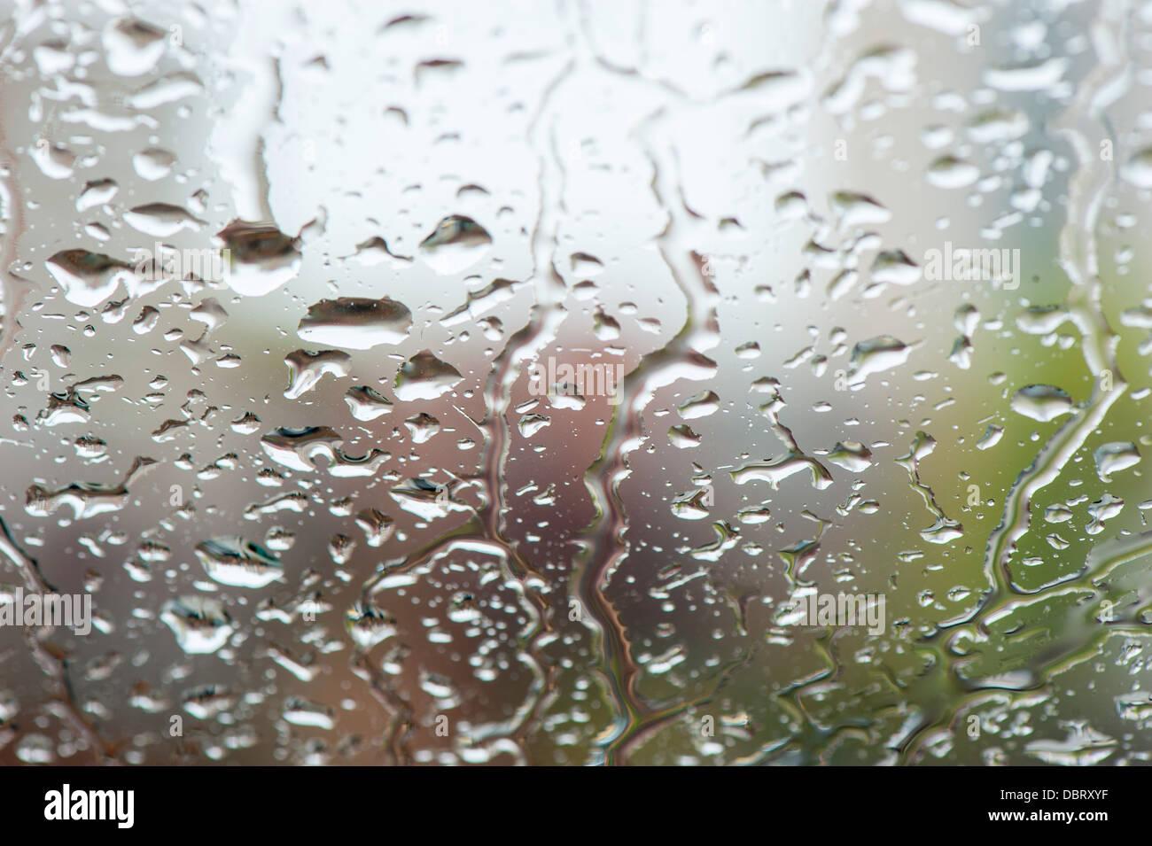 water on window rain drops - Stock Image