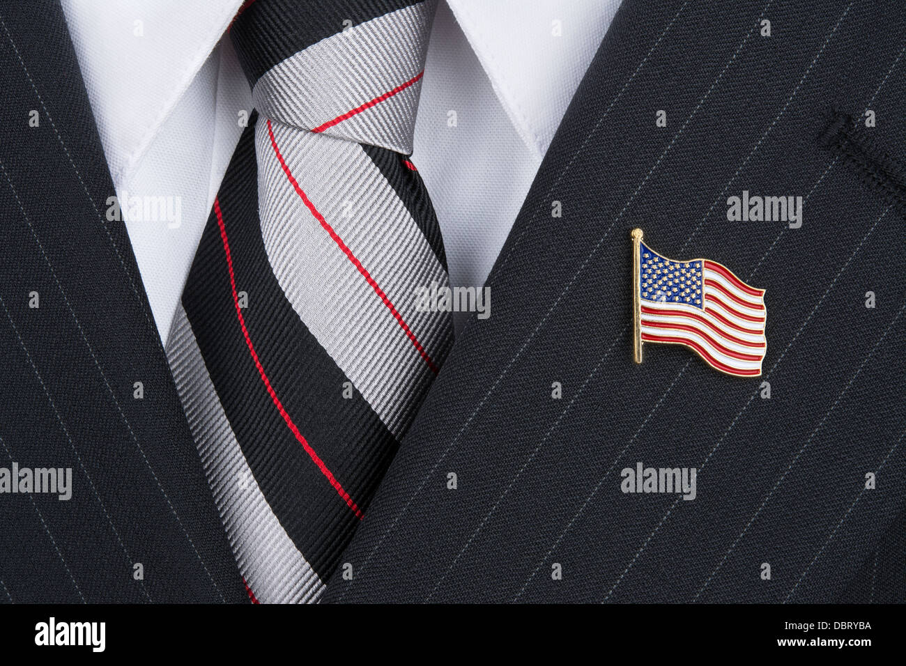 c920d0d6e A politician wearing an American flag lapel pin symbolizes patriotism. -  Stock Image