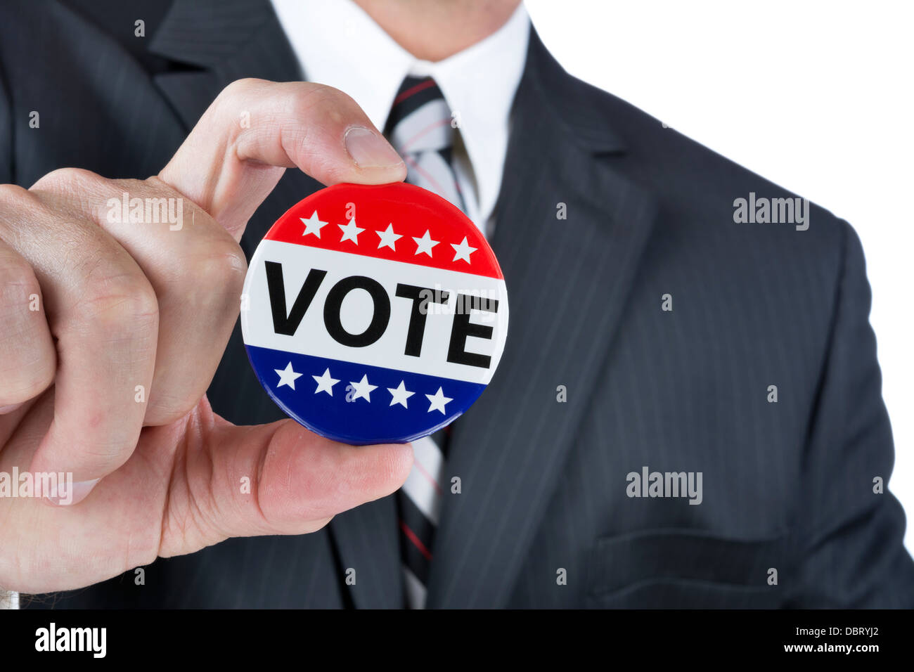 A politician is promoting the right to vote in political elections in the USA. - Stock Image