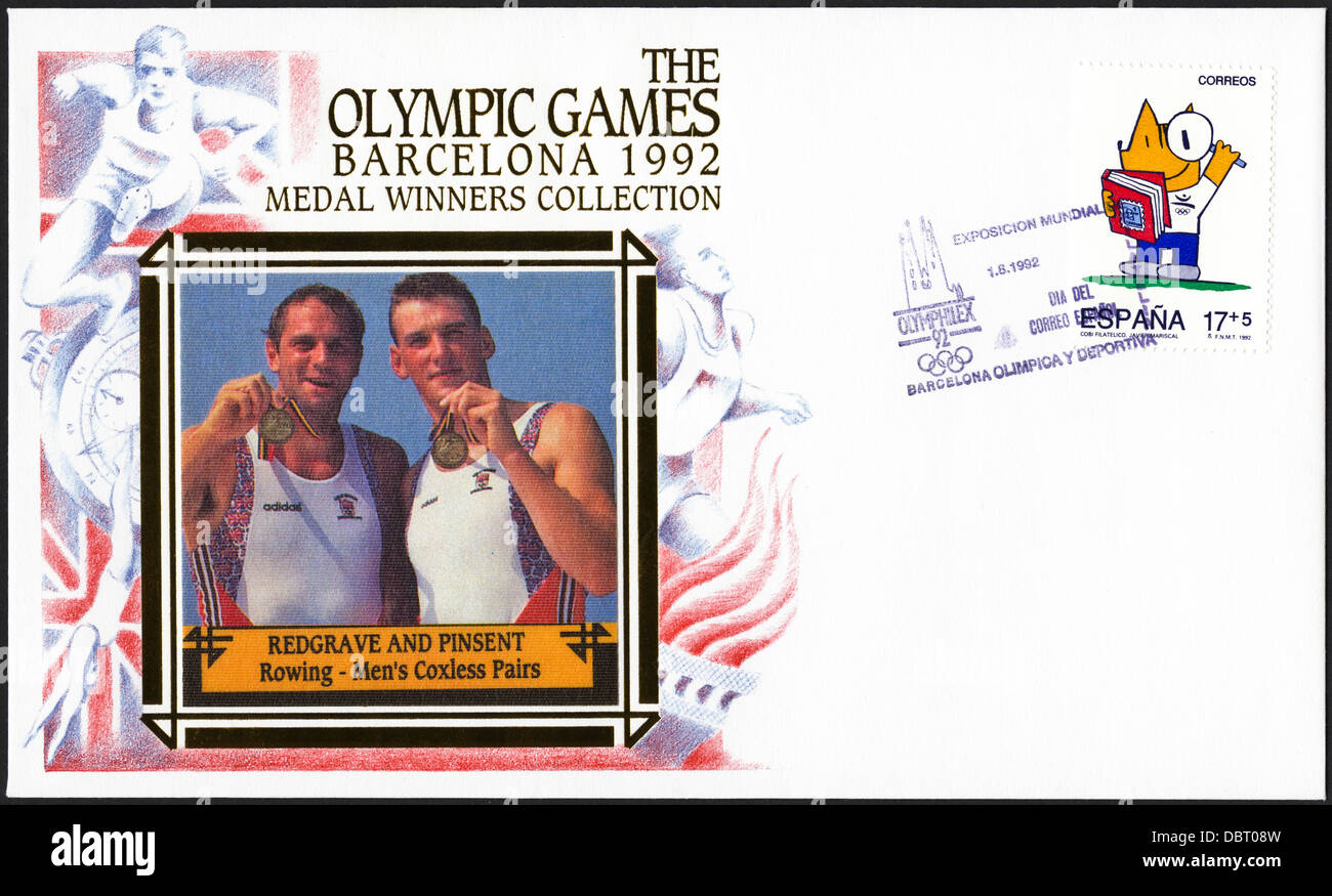 Postage stamp commemorative first day cover of the Medal Winners Collection from the 1992 Barcelona Olympic Games Stock Photo