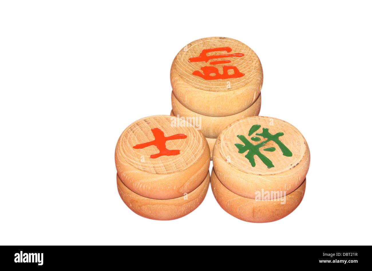 chessmen of chinese chess china - Stock Image