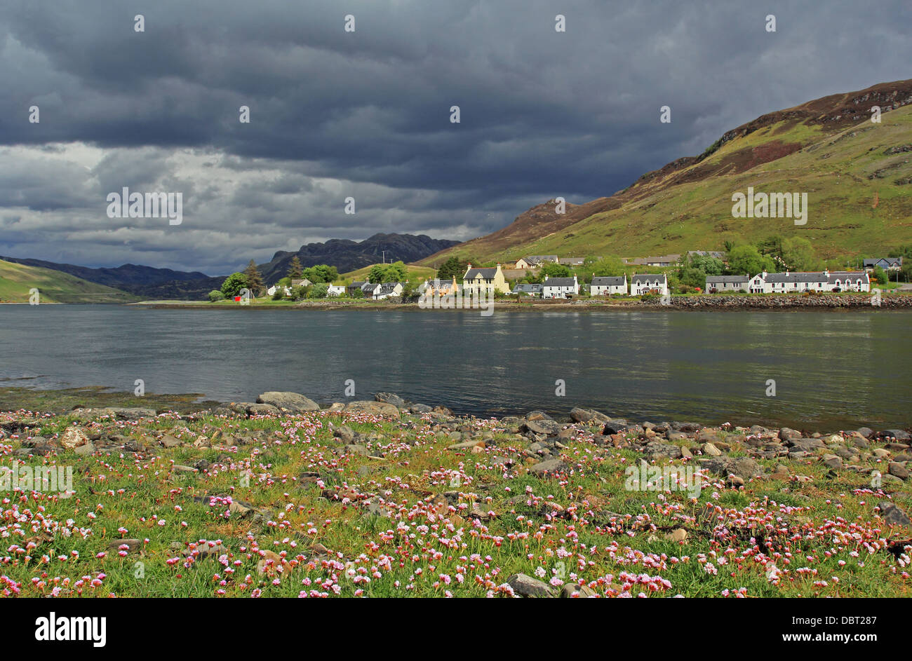 UK Scotland Highland Inverness-shire Dornie Village Loch Long - Stock Image