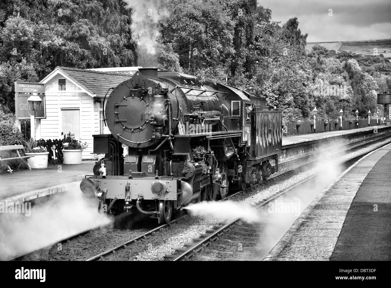 North Yorkshire Moors Railway. American steam locomotive in Grosmont Station - Stock Image