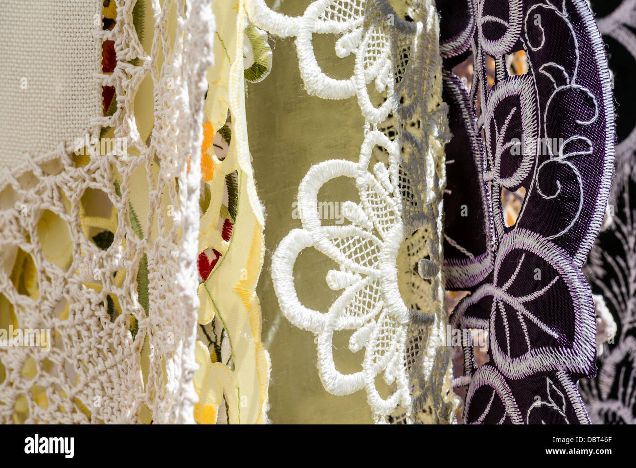 Details of hand-embroidered tablecloth - Stock Image