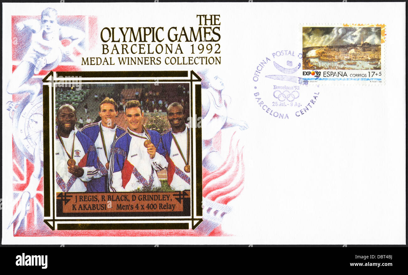 Postage stamp commemorative first day cover of the Medal Winners Collection from the 1992 Barcelona Olympic Games - Stock Image