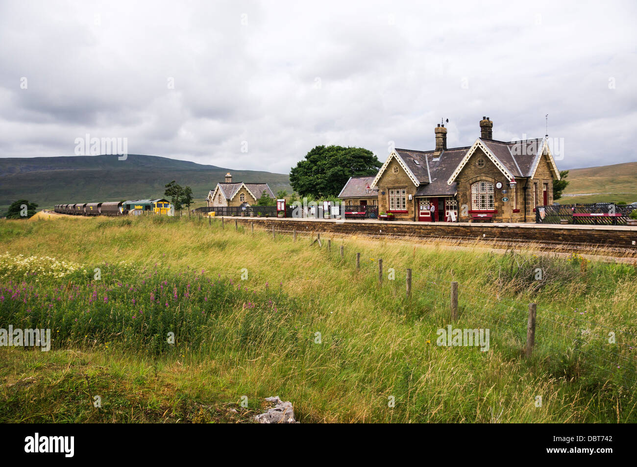 Freight train approaching Ribblehead Station on the Settle - Carlisle line. - Stock Image