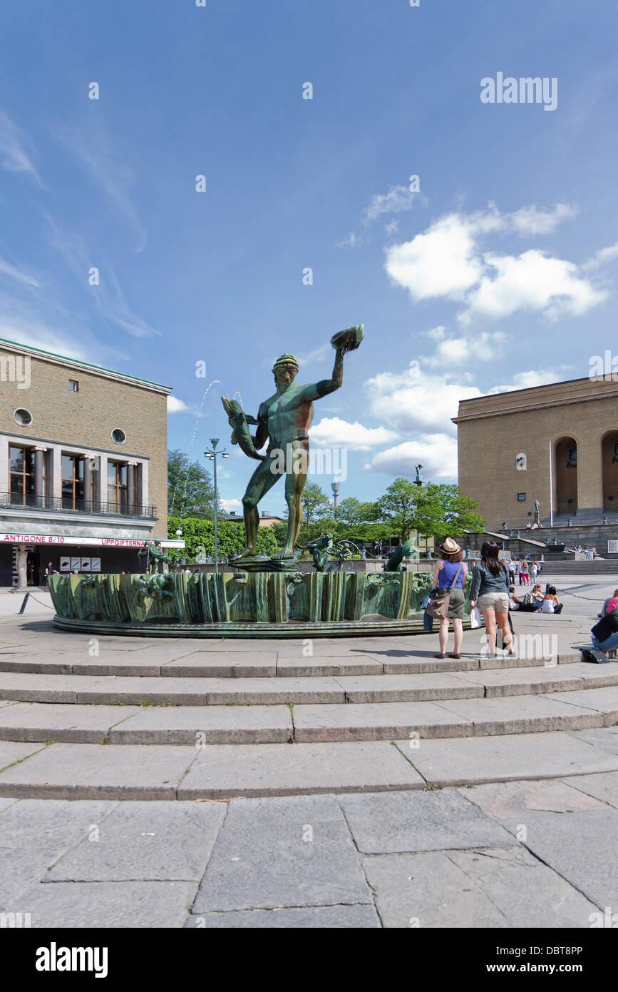 Poseidon statue near art museum - Stock Image