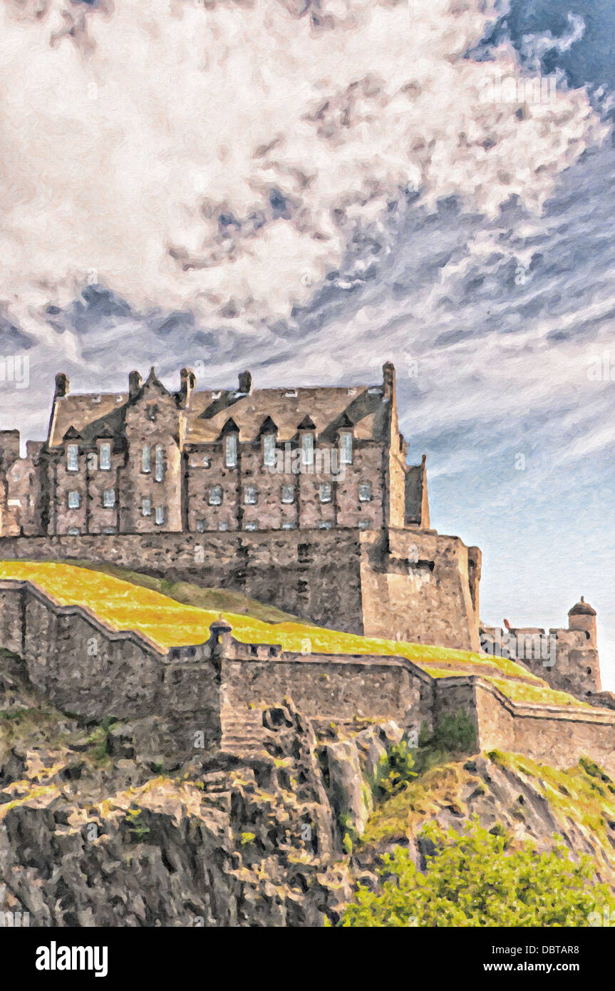 A digital painting of Edinburgh castle in the Scottish capital. - Stock Image