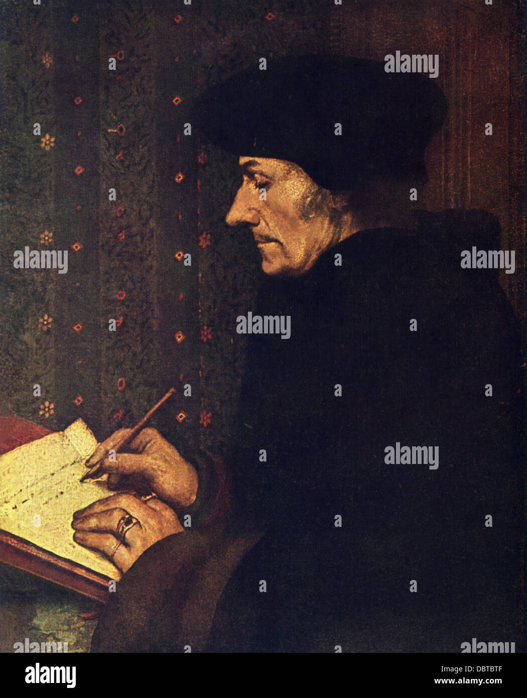 Hans Holbein the Younger (1497-1543), outstanding artist of German Renaissance, painted this portrait of Erasmus - Stock Image