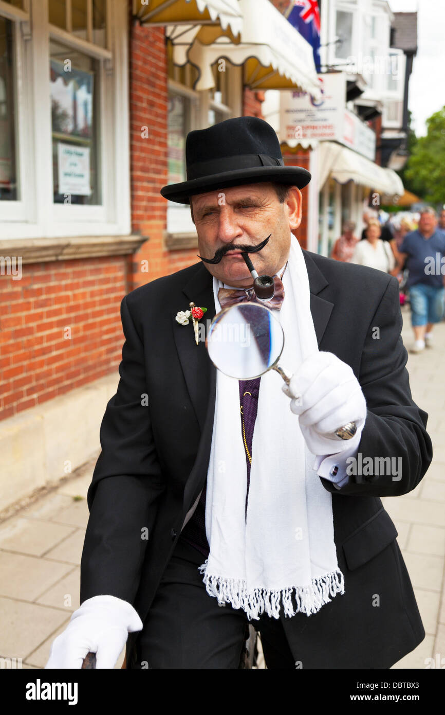 Woodhall Spa. 4th August, 2013. Woodhall Spa 1940's weekend 4/08/2013 Lincolnshire Village UK England. Man dressed - Stock Image