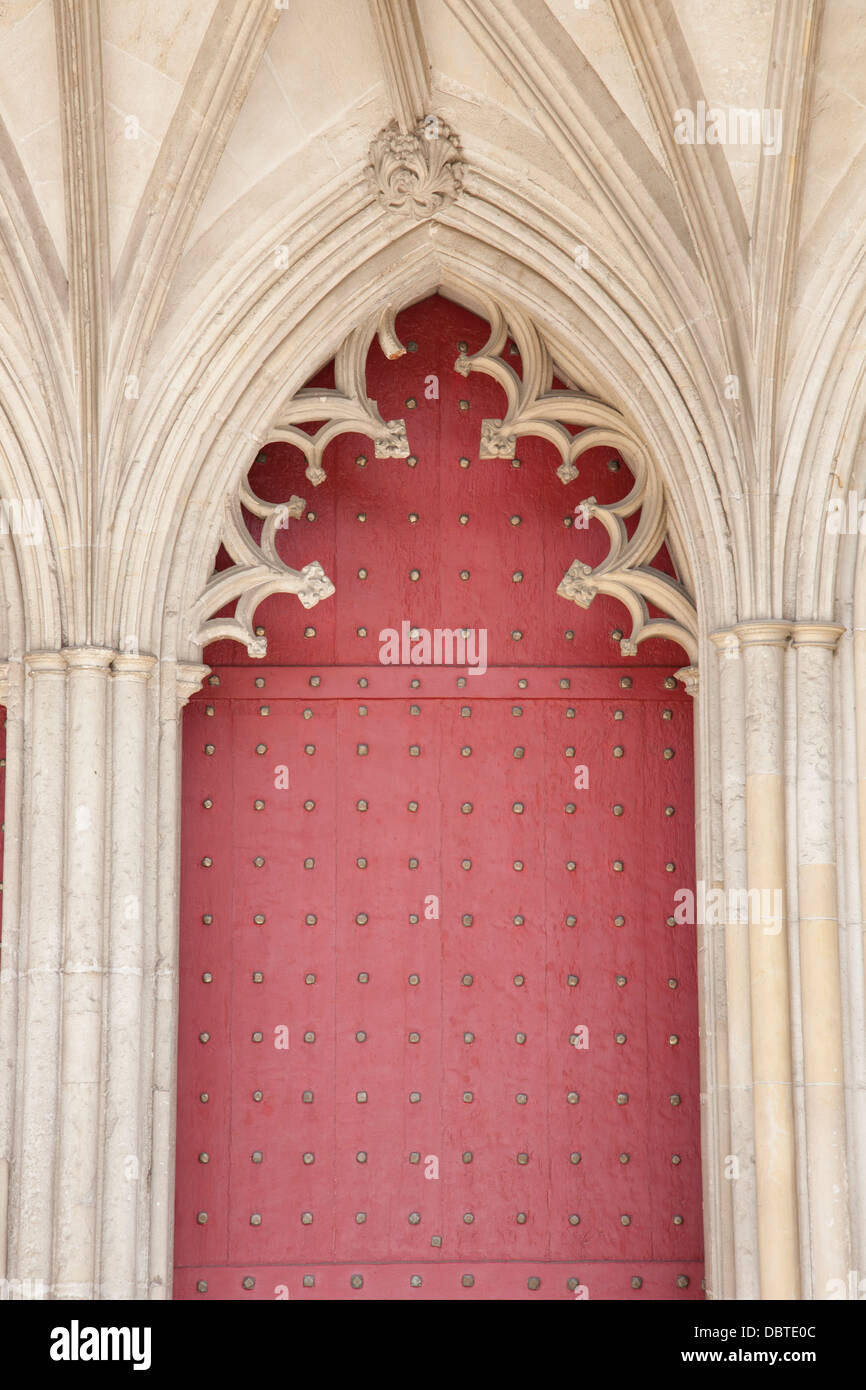 Main Door of Winchester Cathedral Church, England; UK; - Stock Image