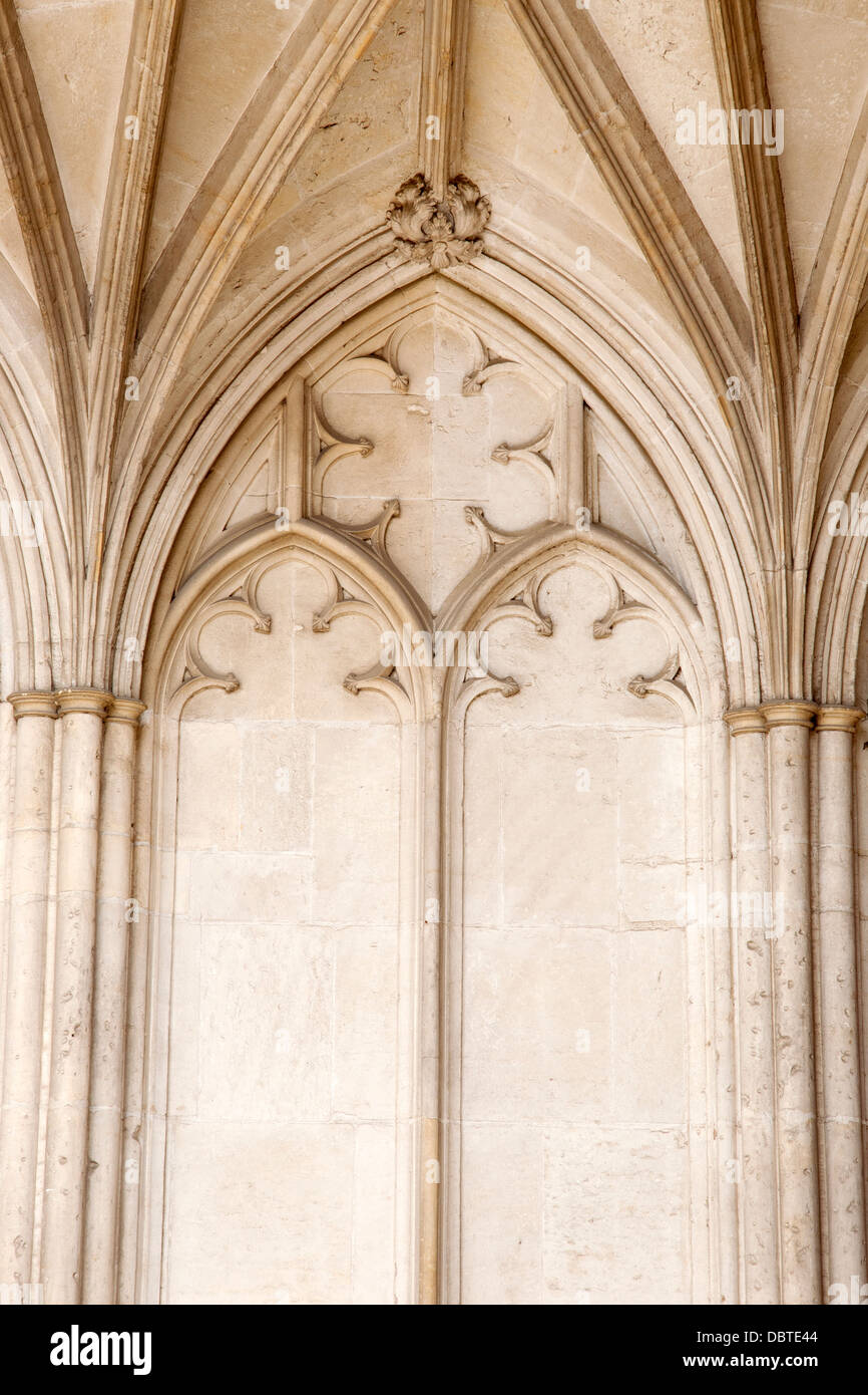 Detail on Exterior Stone Facade, Winchester Cathedral Church, England, UK - Stock Image