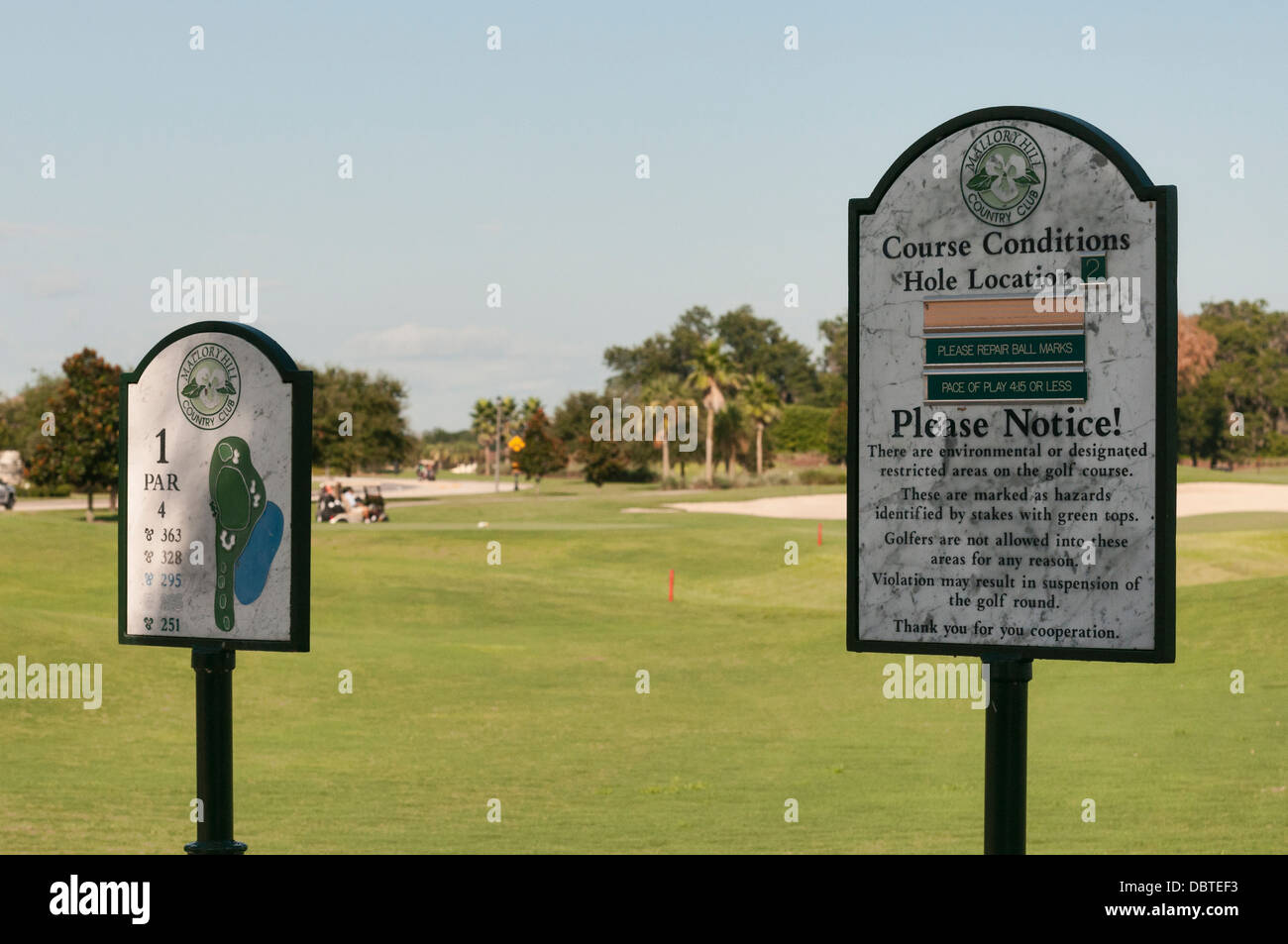 A sign posting the Course conditions at the  Mallory Hill Country Club  in The Villages, Florida USA - Stock Image