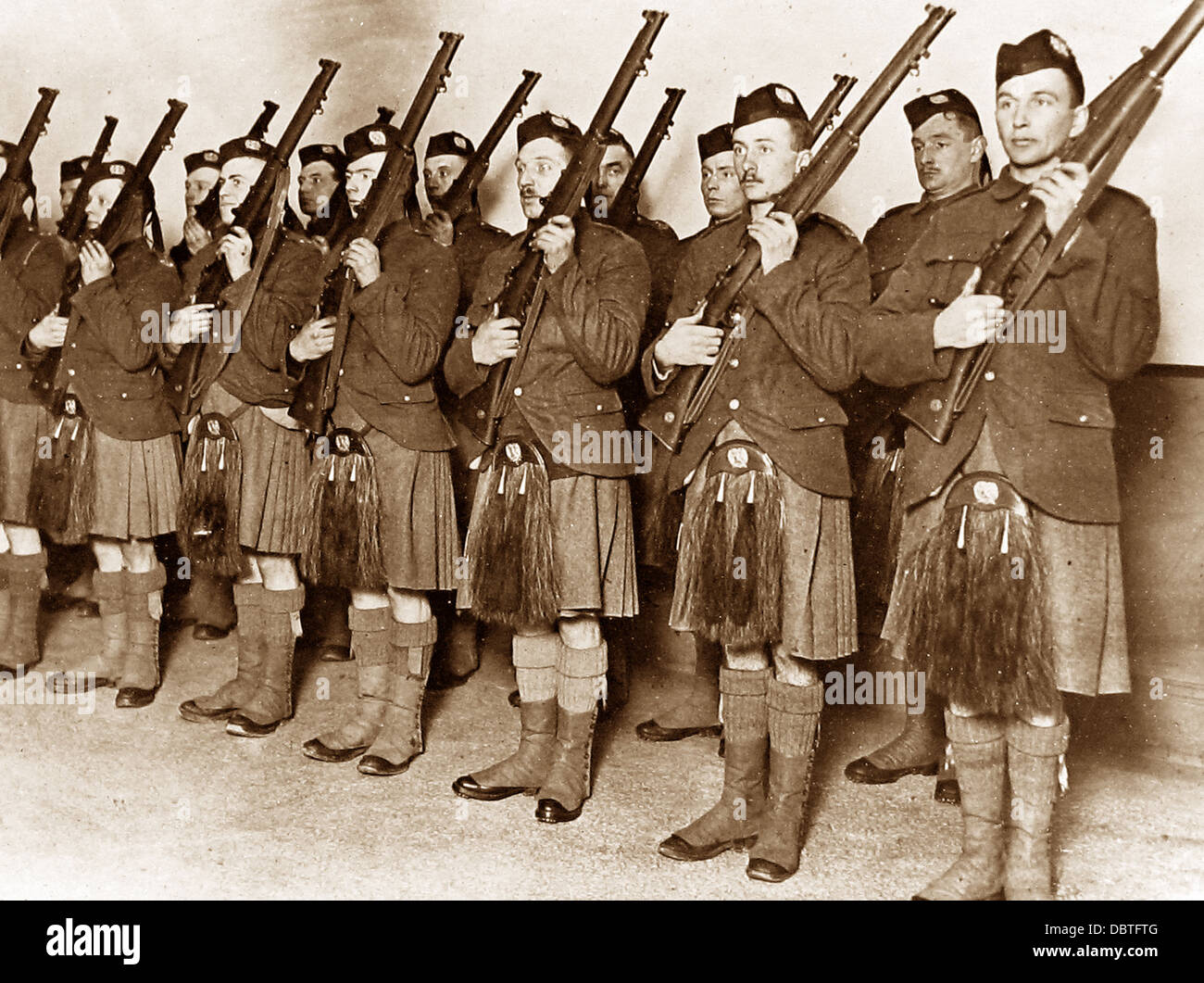 Soldiers of the London Scottish Regiment during WW1 - Stock Image