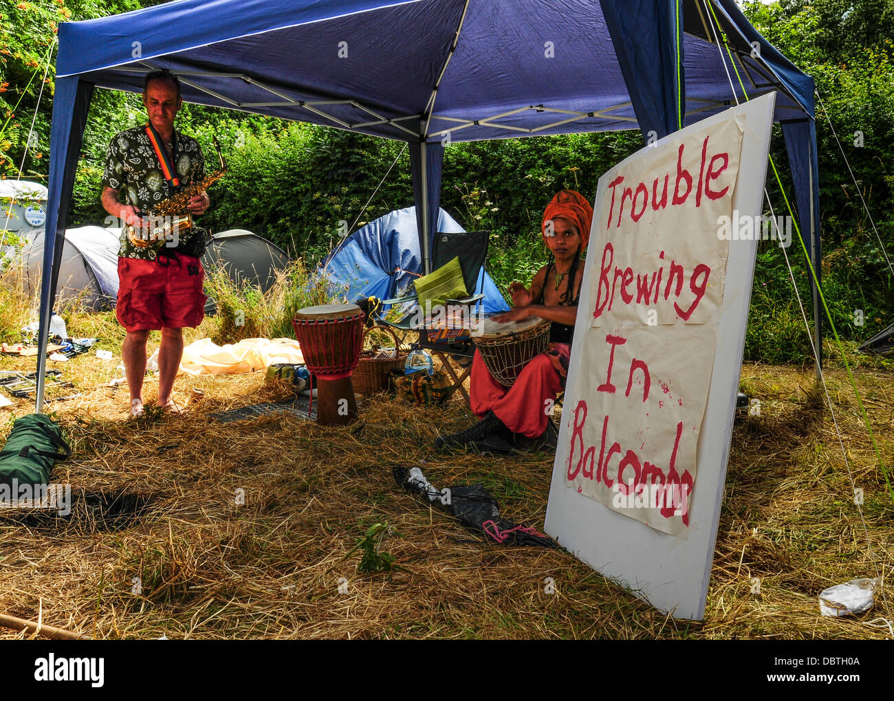 Serious notes from Balcombe, West Sussex as anti fracking protests continue. - Stock Image