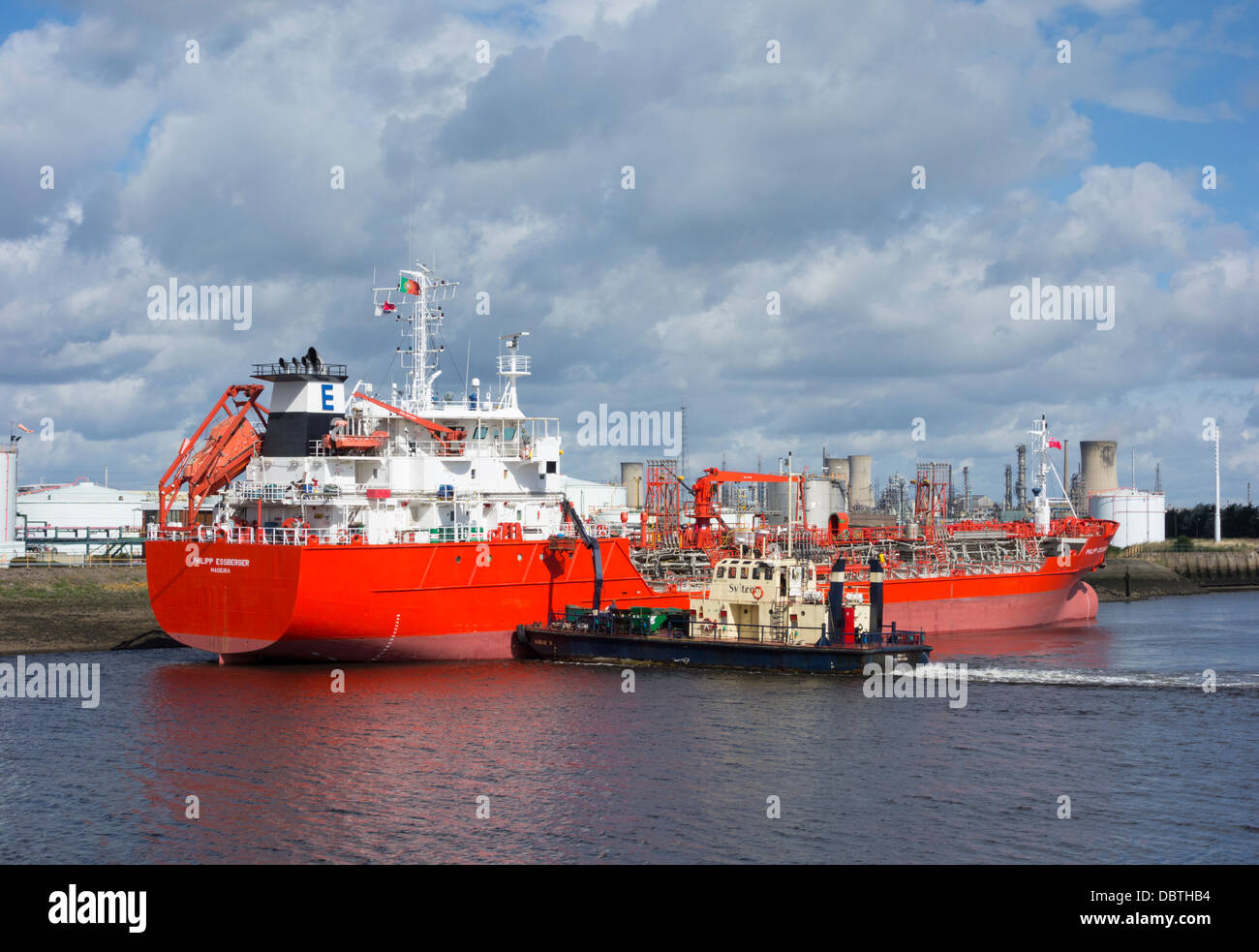 Tanker and resupply boat at Billingham Oil Jetty on the river Tees near Middlesbrough, England, UK - Stock Image