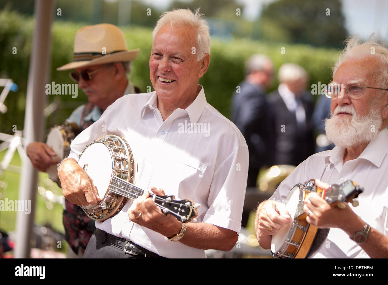 Newton-le-Willows Town Show at Mesnes Park . A member of the George Formby society performs - Stock Image