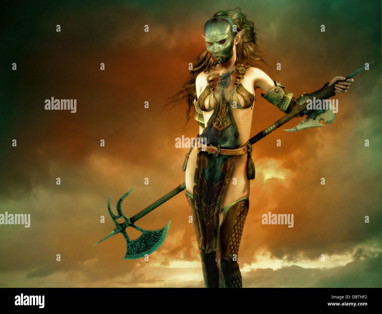 3d fantasy computer graphics of a woman with a iron mask and a long