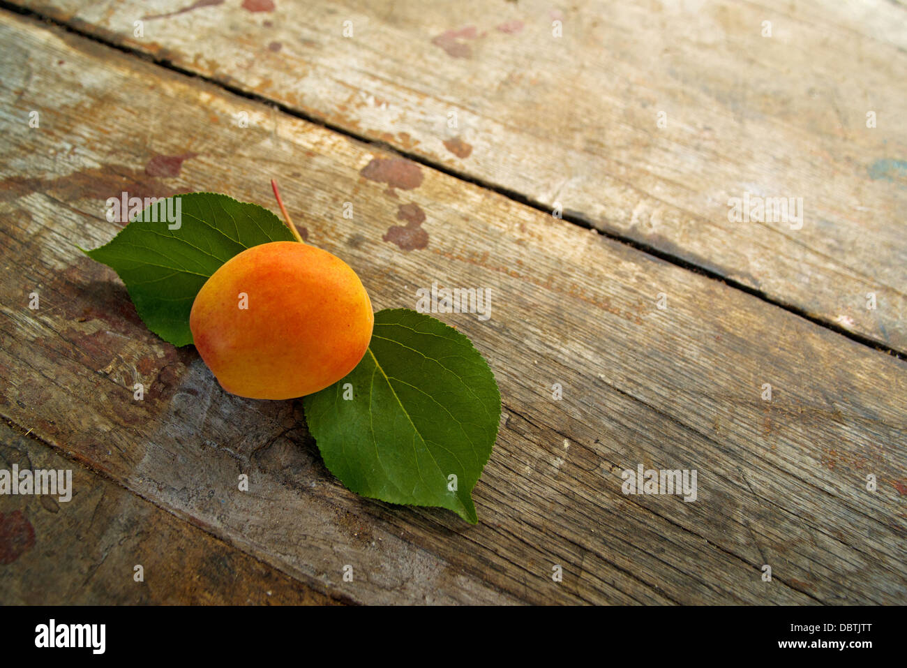 Ripe apricot on wood table - Stock Image