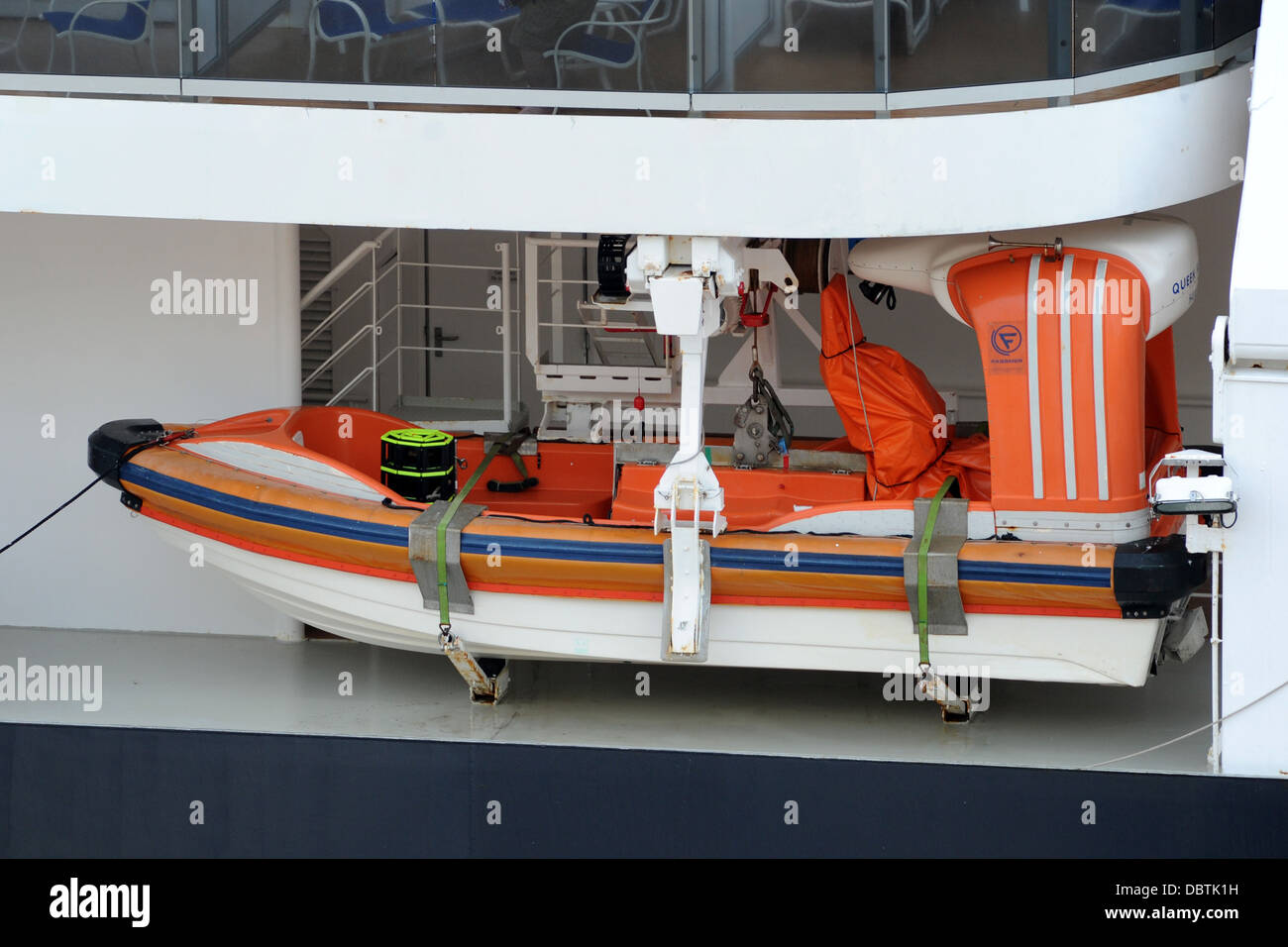 A lifeboat on the Queen Victoria cruise ship. - Stock Image