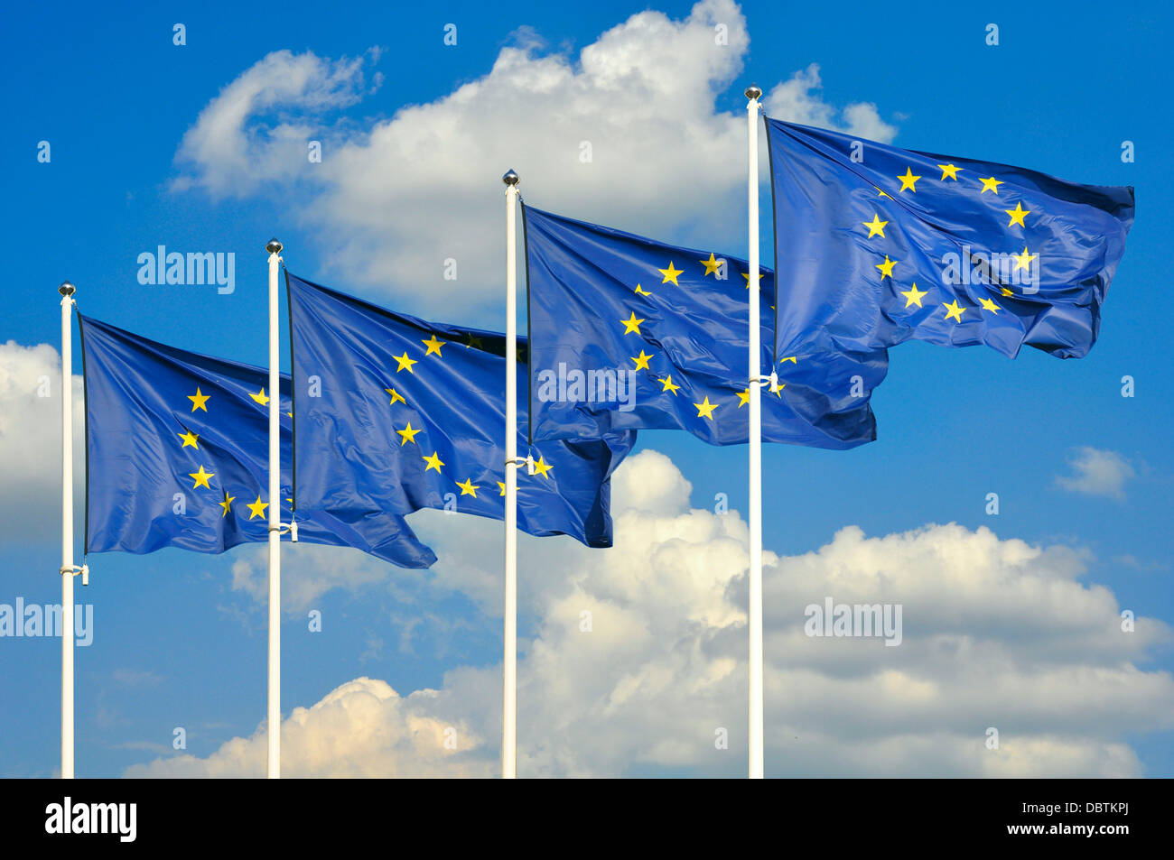 European Union flags over sky background - Stock Image