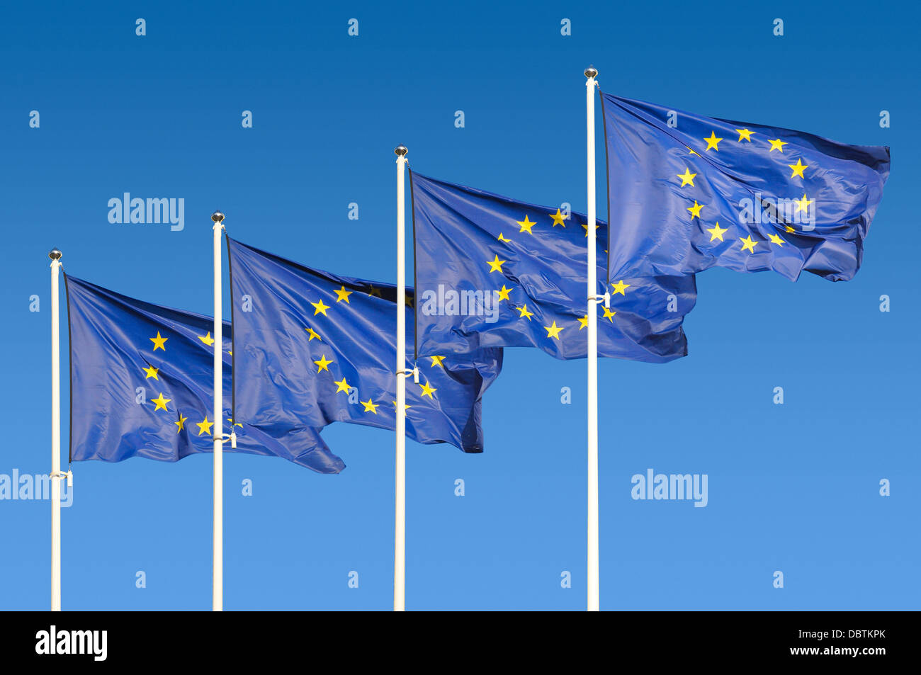 European Union Flags over sky background Stock Photo