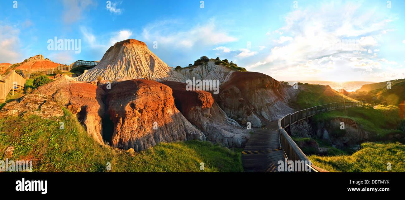 erosion landforms stairway cliff clay red Sugarloaf landscape erosional walking trail hiking path landscape landscapes - Stock Image