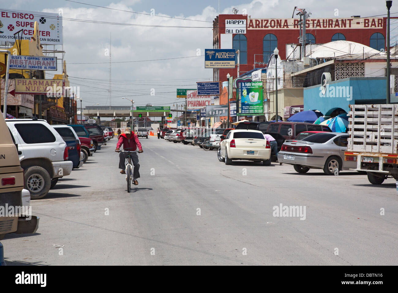 The main street of Nuevo Progreso, Mexico, which is lined with shops