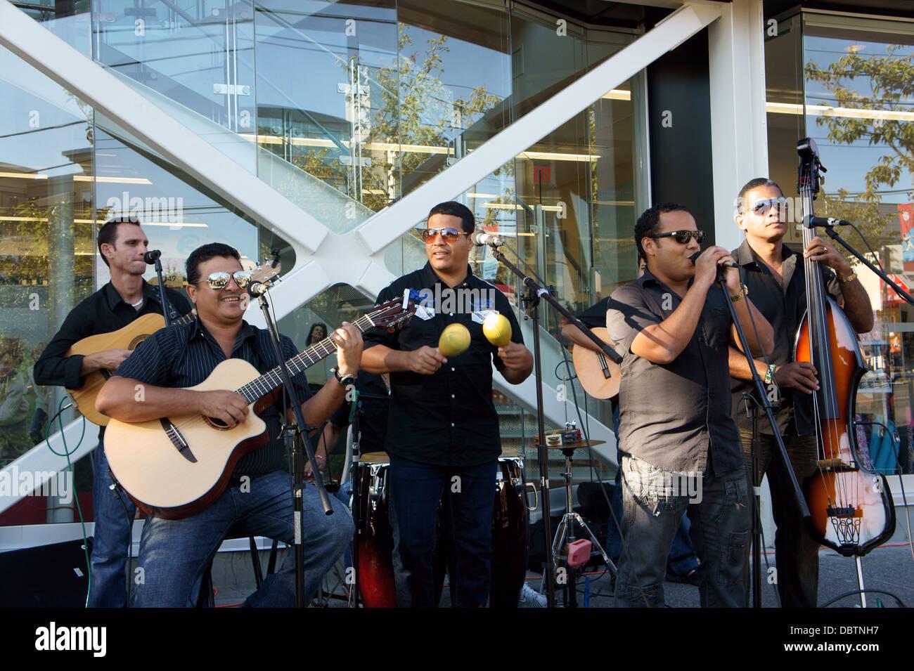 Cuban musical group Brisas del Palmar from Santiago de Cuba performing in Vancouver, BC, Canada - Stock Image