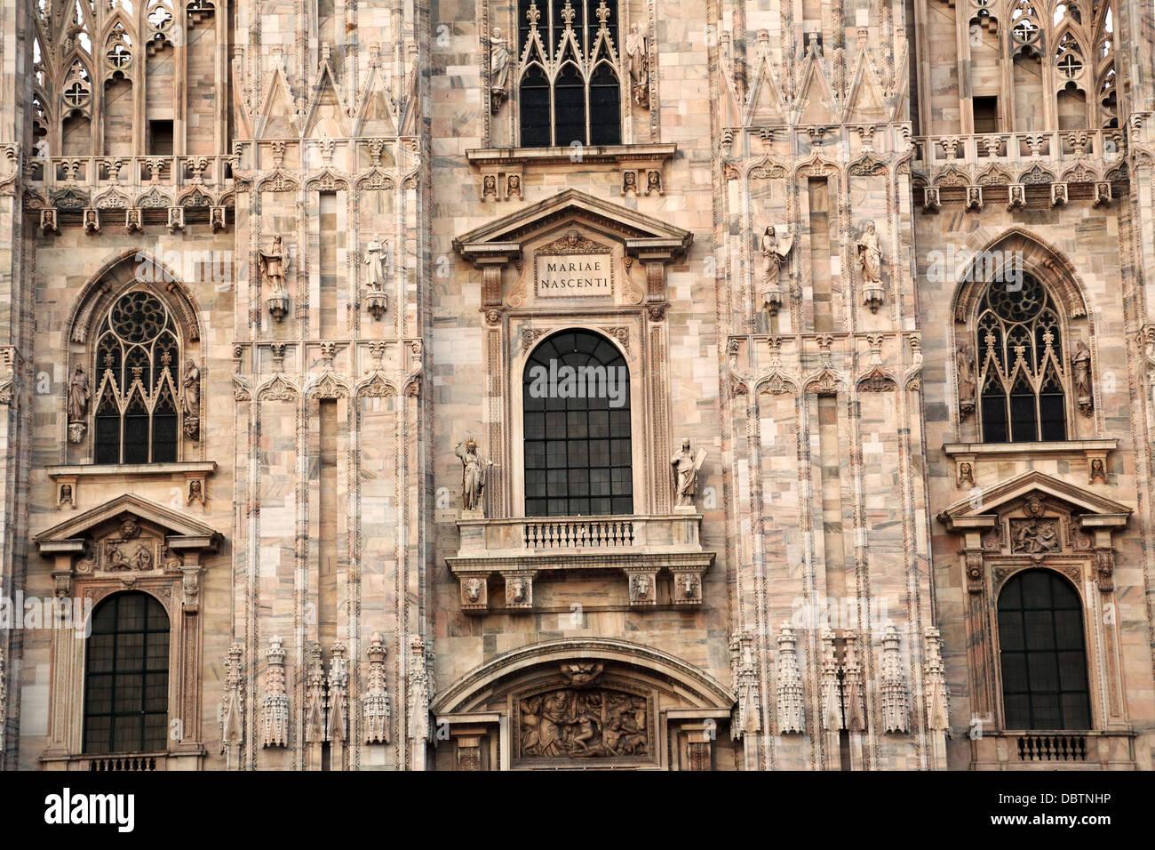 Facade of the Duomo in Milan Italy - Stock Image