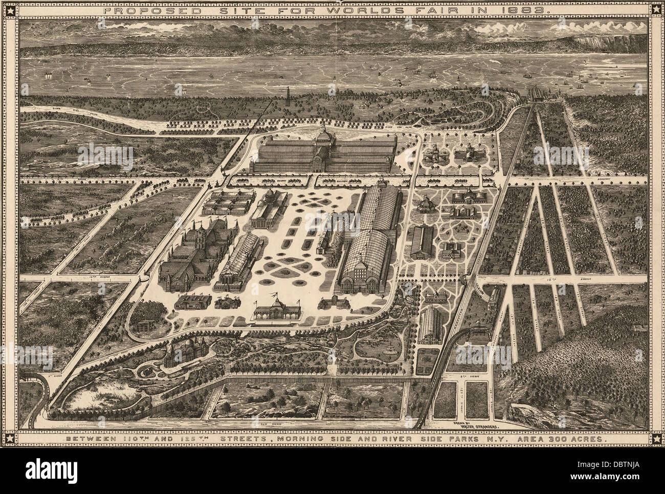 Proposed site for World's Fair in 1883 : between 110th and 125th Streets, Morning Side and River Side Parks, - Stock Image