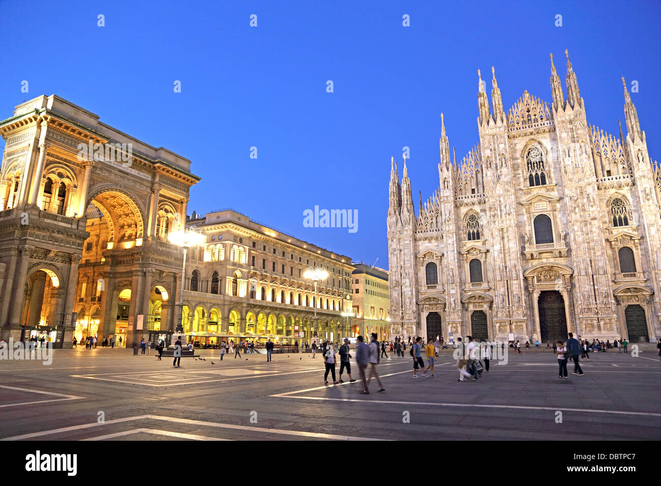 Piazza del Duomo and the front entrances of the Duomo and Galleria Vittorio Emanuele in Milan Italy - Stock Image