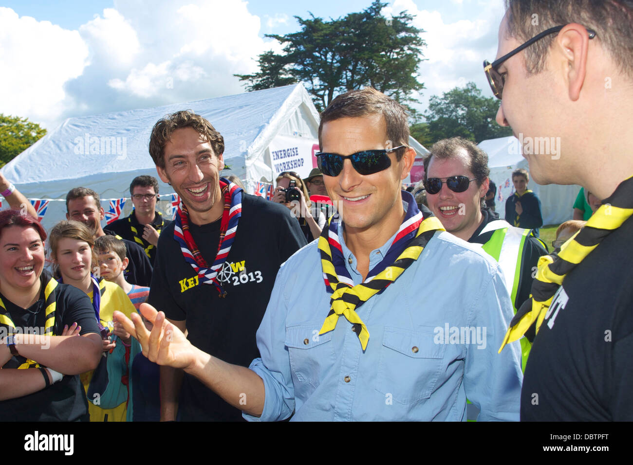 Bear Grylls and David Walliams visit the Kernow Scout Jamboree to endorse and promote the work of the UK Scouting Stock Photo