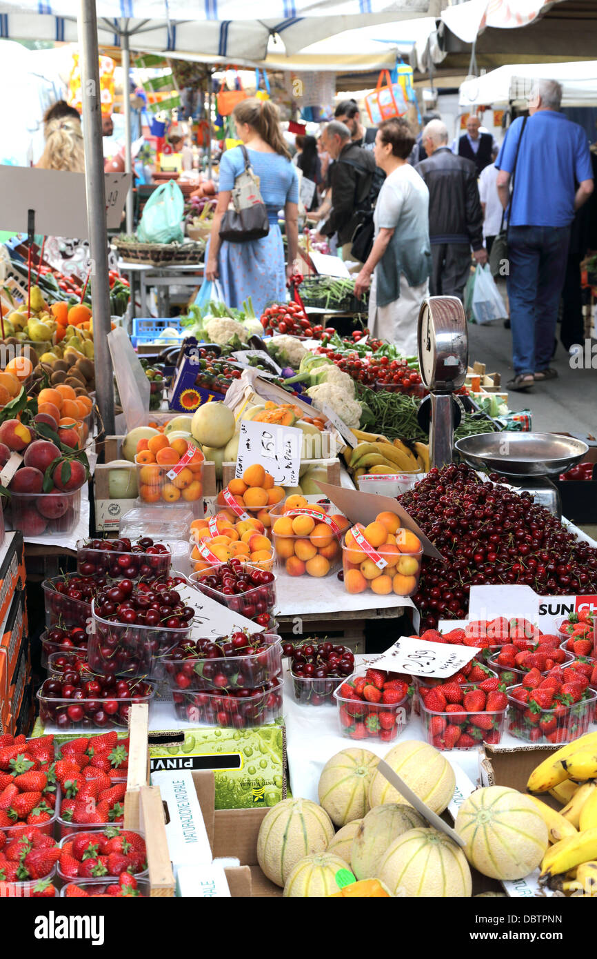 Fruit and vegetables on display at a market along Viale Papiniano in Milan Italy - Stock Image