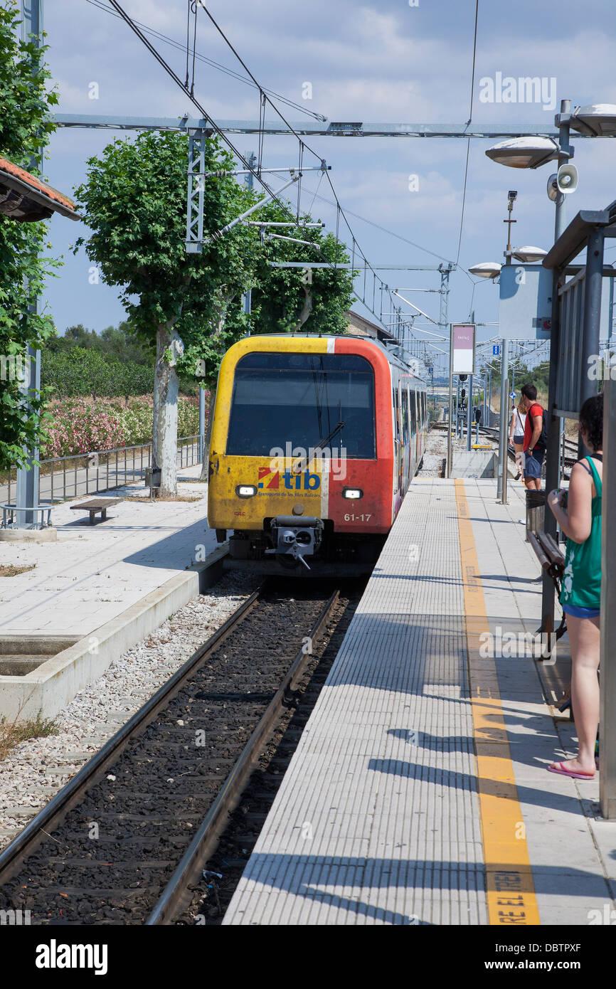 Sa Pobla Railway station on the TIB rail network on the Island of Majorca - Stock Image