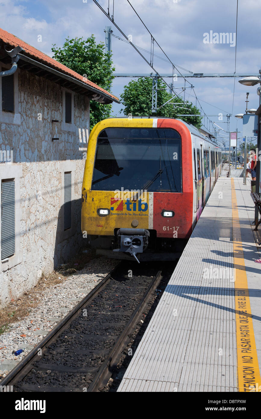 Enllaç Estació Railway station on the TIB rail network on the Island of Majorca - Stock Image