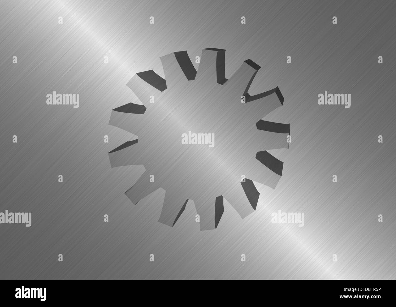 Polished metal background with protruding metal wheel in the middle. - Stock Image