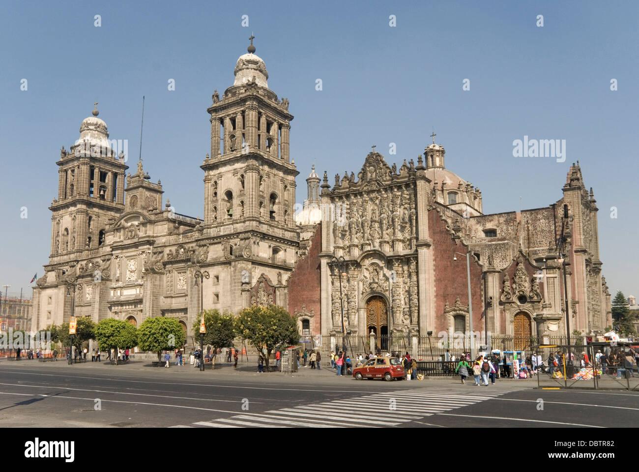 Catedral Metropolitana, Zocalo (Plaza de la Constitucion), Mexico City, Mexico, North America - Stock Image